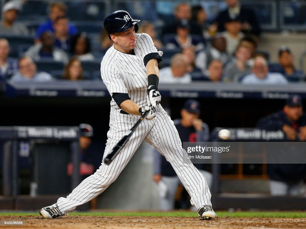 Todd Frazier #29 of the New York Yankees connects on a fifth inning RBI single against the Cleveland Indians at Yankee Stadium on August 28, 2017 in the Bronx borough of New York City.