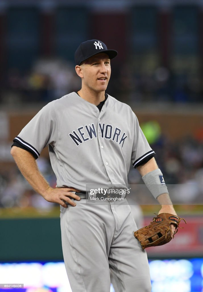 Todd Frazier #29 of the New York Yankees looks on during the game against the Detroit Tigers at Comerica Park on August 22, 2017 in Detroit, Michigan. The Yankees defeated the Tigers 13-4.