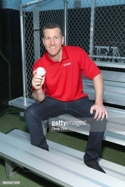 Todd Frazier partners with Canon for the Canon #PIXMAPerfect Grand Slam event at New York Empire Baseball on July 10 2018 in New York City