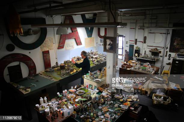 Todd Gieg works on his railroad diorama in his studio in Lynn MA on Jan 30 2019 Gieg is building an exquisitely detailed diorama of the Boston Revere...