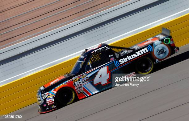 Todd Gilliland driver of JBL/Sirus XM Toyota drives during practice for the NASCAR Camping World Truck Series World of Wesgate 200 on September 13...