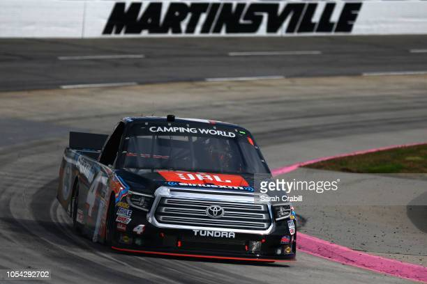 Todd Gilliland driver of the JBL/SiriusXM Toyota races during the NASCAR Camping World Truck Series Texas Roadhouse 200 presented by Alpha Energy...