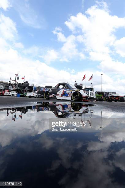 Todd Gilliland driver of the Mobil 1 Toyota drives during practice for the NASCAR Gander Outdoor Truck Series Ultimate Tailgating 200 at Atlanta...