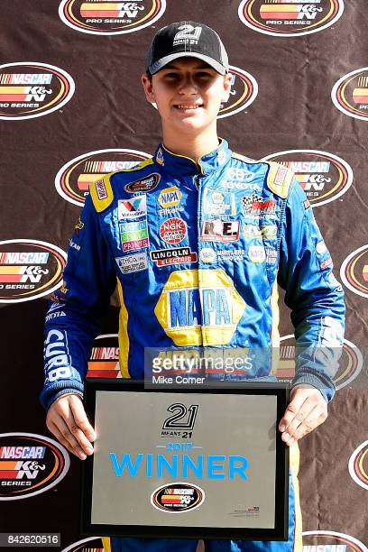Todd Gilliland driver of the NAPA Auto Parts Toyota poses with plaque after qualifying first for the NASCAR KN Pro Series East Visit Hampton Virginia...