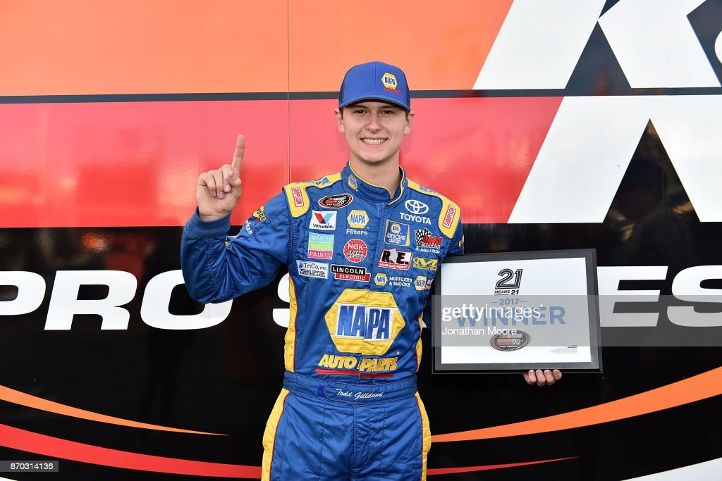 Todd Gilliland, driver of the #16 NAPA Auto Parts Toyota, poses with the pole award after qualifying for the NASCAR K&N Pro Series West Coast Stock Car Hall of Fame Championship 150, presented by NAPA Auto Parts at Kern County Raceway Park on November 4, 2017 in Bakersfield, California.