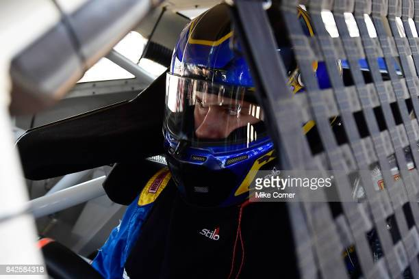 Todd Gilliland driver of the NAPA Auto Parts Toyota prepares for practice at Langley Speedway on September 4 2017 in Hampton Virginia