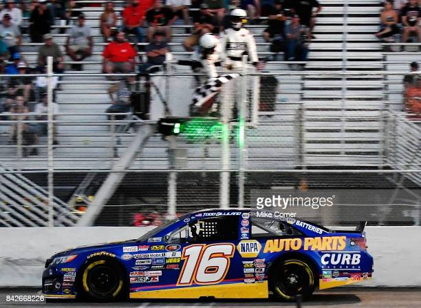 Todd Gilliland driver of the NAPA Auto Parts Toyota wins the NASCAR KN Pro Series East Visit Hampton Virginia 150 at Langley Speedway on September 4...