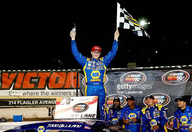 Todd Gilliland driver of the NAPPA Auto Parts Toyota celebrates after winning the NASCAR KN Pro Series East Jet Tools 150 at New Smyrna Speedway on...