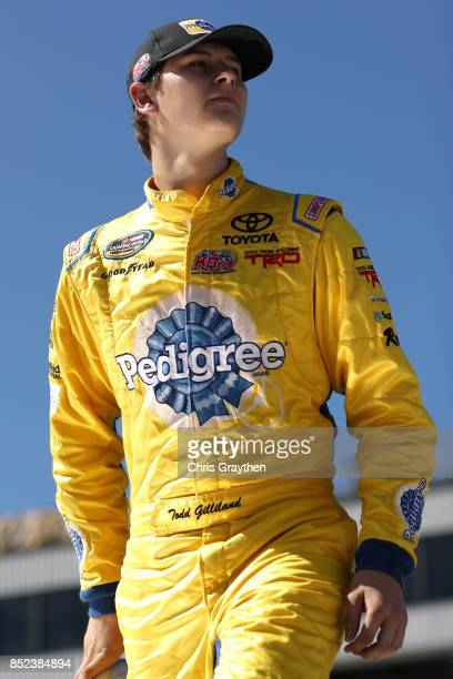 Todd Gilliland driver of the Pedigree Toyota is introduced prior to the NASCAR Camping World Truck Series UNOH 175 at New Hampshire Motor Speedway on...