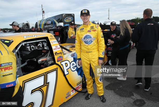 Todd Gilliland driver of the Pedigree Toyota poses outside his truck shortly before the start of qualifying at Canadian Tire Mosport Park on...