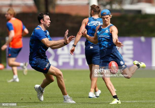 Todd Goldstein and Mason Wood of the Kangaroos in action during a North Melbourne Kangaroos Training Session at Arden Street Ground on January 15...