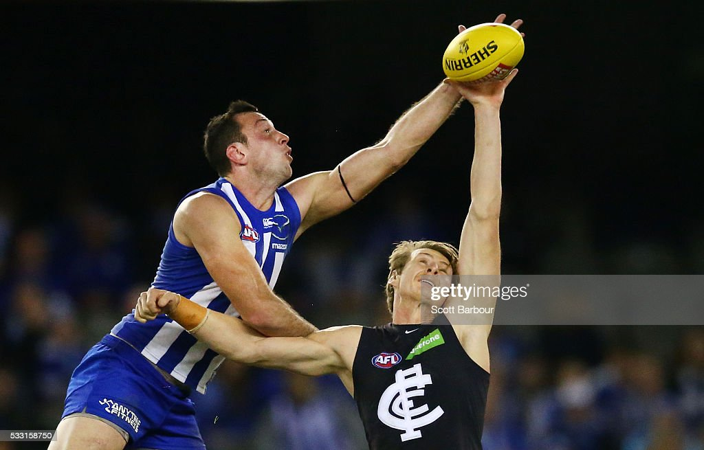 Todd Goldstein of the Kangaroos and Daniel Gorringe of the Blues compete for the ball during the round nine AFL match between the North Melbourne Kangaroos and the Carlton Blues at Etihad Stadium on May 21, 2016 in Melbourne, Australia.