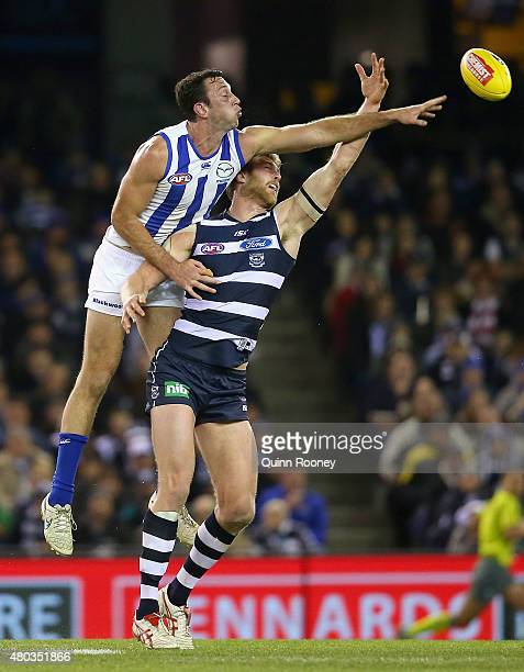 Todd Goldstein of the Kangaroos and Dawson Simpson of the Cats during the round 15 AFL match between the North Melbourne Kangaroos and the Geelong...