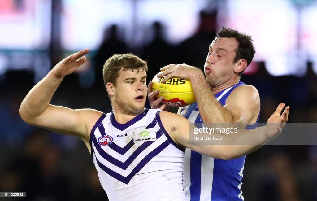 Todd Goldstein of the Kangaroos and Sean Darcy of the Dockers compete for the ball during the round 16 AFL match between the North Melbourne Kangaroos and the Fremantle Dockers at Etihad Stadium on July 9, 2017 in Melbourne, Australia.