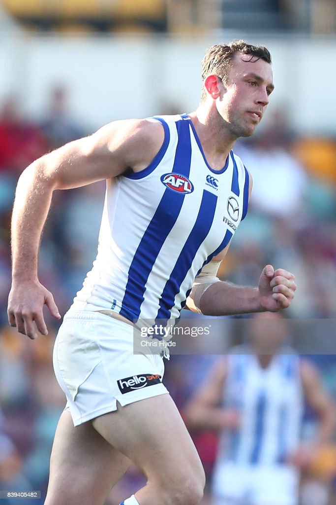 Todd Goldstein of the Kangaroos celebrates a goal during the round 23 AFL match between the Brisbane Lions and the North Melbourne Kangaroos at The Gabba on August 26, 2017 in Brisbane, Australia.