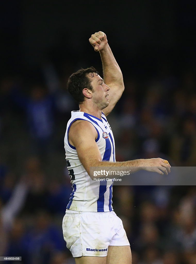 Todd Goldstein of the Kangaroos celebrates after scoring a goal during the round 21 AFL match between the North Melbourne Kangaroos and the Fremantle Dockers at Etihad Stadium on August 23, 2015 in Melbourne, Australia.