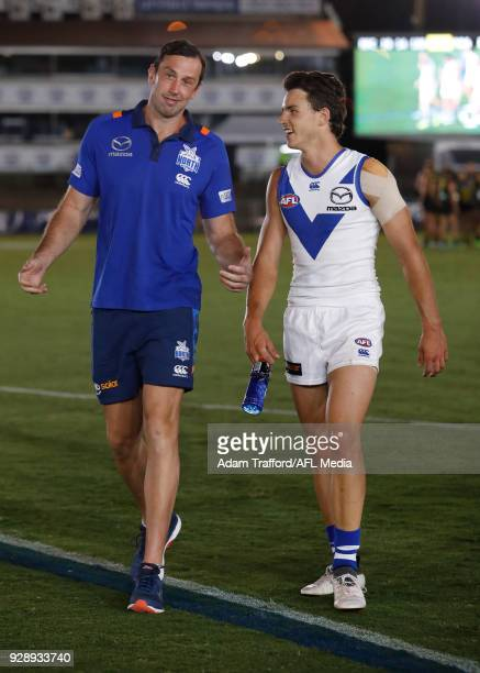Todd Goldstein of the Kangaroos chats to Luke DaviesUniacke of the Kangaroos after his first game during the AFL 2018 JLT Community Series match...