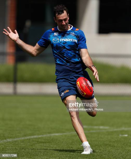 Todd Goldstein of the Kangaroos in action during a North Melbourne Kangaroos Training Session at Arden Street Ground on January 15 2018 in Melbourne...