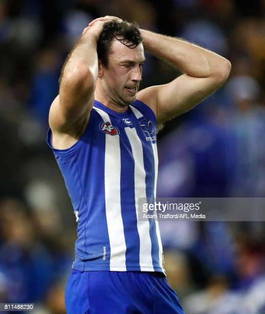 Todd Goldstein of the Kangaroos looks dejected after a loss during the 2017 AFL round 16 match between the North Melbourne Kangaroos and the...