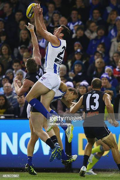 Todd Goldstein of the Kangaroos marks the ball during the round 18 AFL match between the Carlton Blues and the North Melbourne Kangaroos at Etihad...