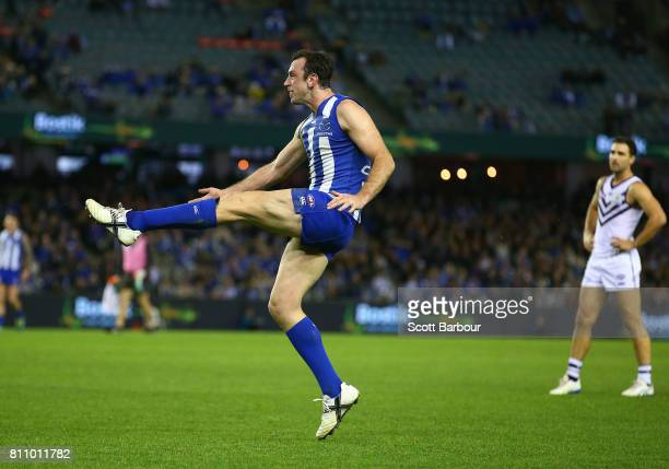 Todd Goldstein of the Kangaroos misses a shot at goal in the the final minute during the round 16 AFL match between the North Melbourne Kangaroos and...