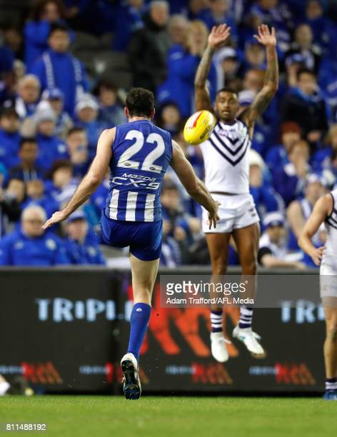 Todd Goldstein of the Kangaroos misses a shot at goal to win the game with 17 seconds to goduring the 2017 AFL round 16 match between the North...