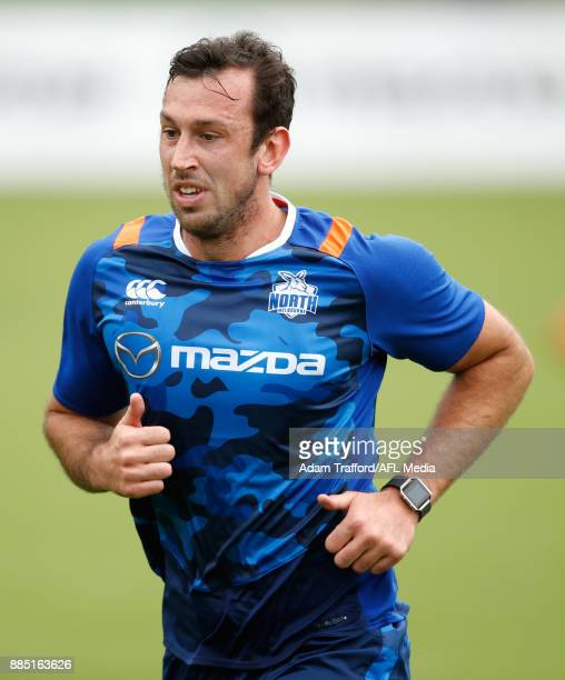 Todd Goldstein of the Kangaroos runs the yoyo test during the North Melbourne Kangaroos training session at Arden St on December 4 2017 in Melbourne...