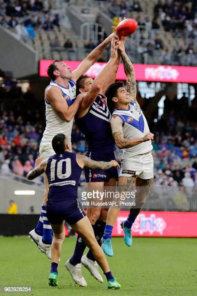 Todd Goldstein of the Kangaroos spoils during the round 10 AFL match between the Fremantle Dockers and the North Melbourne Kangaroos at Optus Stadium...