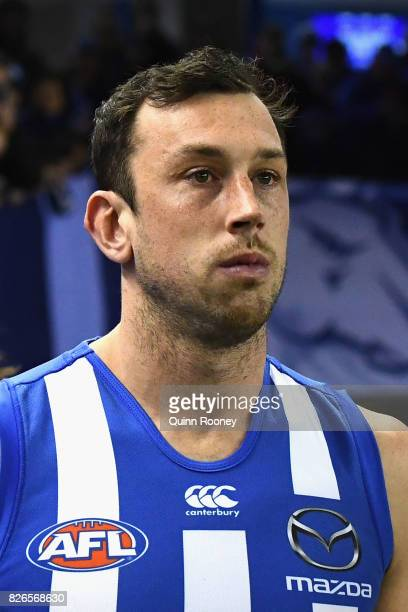 Todd Goldstein of the Kangaroos walks out onto the field during the round 20 AFL match between the North Melbourne Kangaroos and the Collingwood...