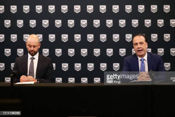 Todd Greenberg and ARLC Chairman Peter V'landys speak to the media during an NRL press conference at NRL headquarters on March 23 2020 in Sydney...