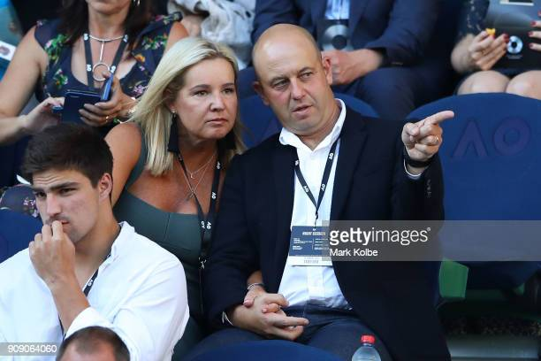 Todd Greenberg and his wife Lisa watch the quarter final match between Rafael Nadal of Spain and Marin Cilic of Croatia on day nine of the 2018...