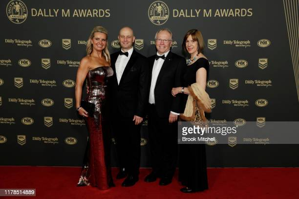 Todd Greenberg and Lisa Greenberg and Chairman Peter Beatie and Heather Beatie arrive ahead of the 2019 Dally M Awards at Hordern Pavilion on October...