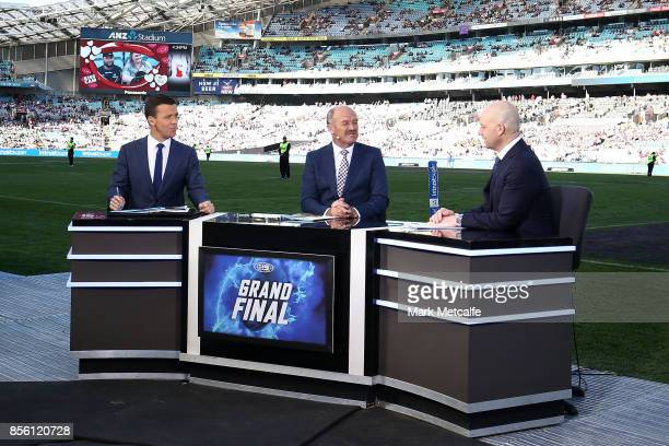 Todd Greenberg is interviewed during the 2017 State Championship Final between the Penrith Panthers and Papua New Guinea Hunters at ANZ Stadium on...
