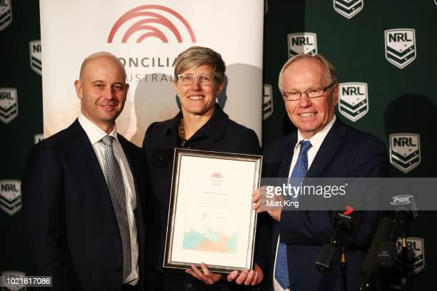 NRL CEO Todd Greenberg Reconciliation Australia CoChair Melinda Cilento and ARL Commission Chairman Peter Beattie pose during a NRL Media opportunity...