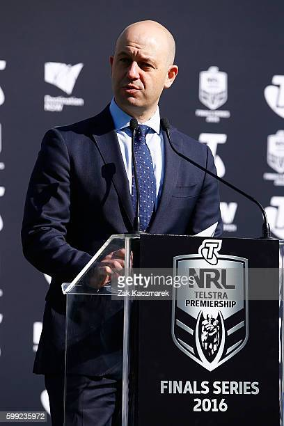 Todd Greenberg speaks during the 2016 NRL Finals series launch at Allianz Stadium on September 5 2016 in Sydney Australia