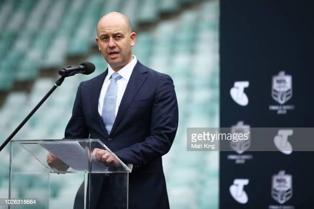 Todd Greenberg speaks during the 2018 NRL Finals Series Launch at Allianz Stadium on September 3 2018 in Sydney Australia