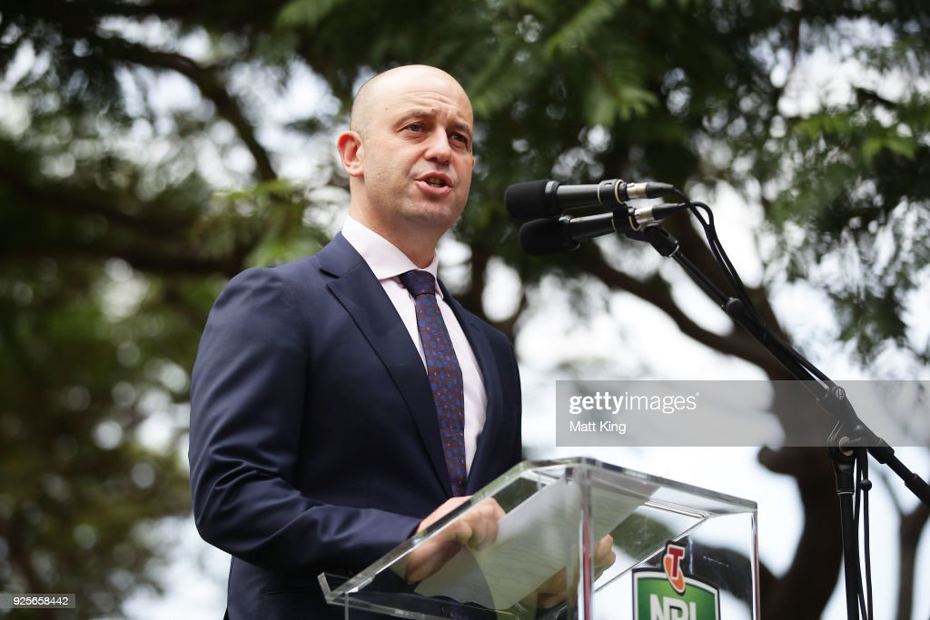 Todd Greenberg speaks during the 2018 NRL season launch at First Fleet Park on March 1, 2018 in Sydney, Australia.