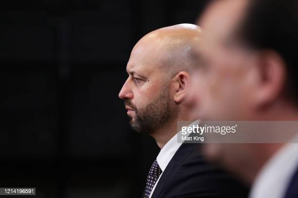 Todd Greenberg speaks to the media during an NRL press conference at NRL headquarters on March 23 2020 in Sydney Australia