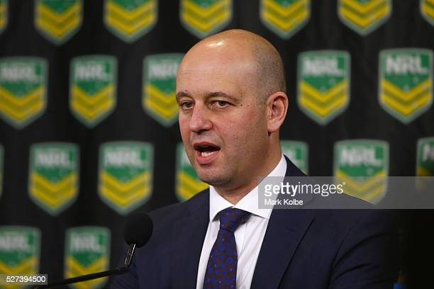 Todd Greenberg speaks to the media during an NRL press conference at NRL Headquarters on May 3 2016 in Sydney Australia The NRL announced today...