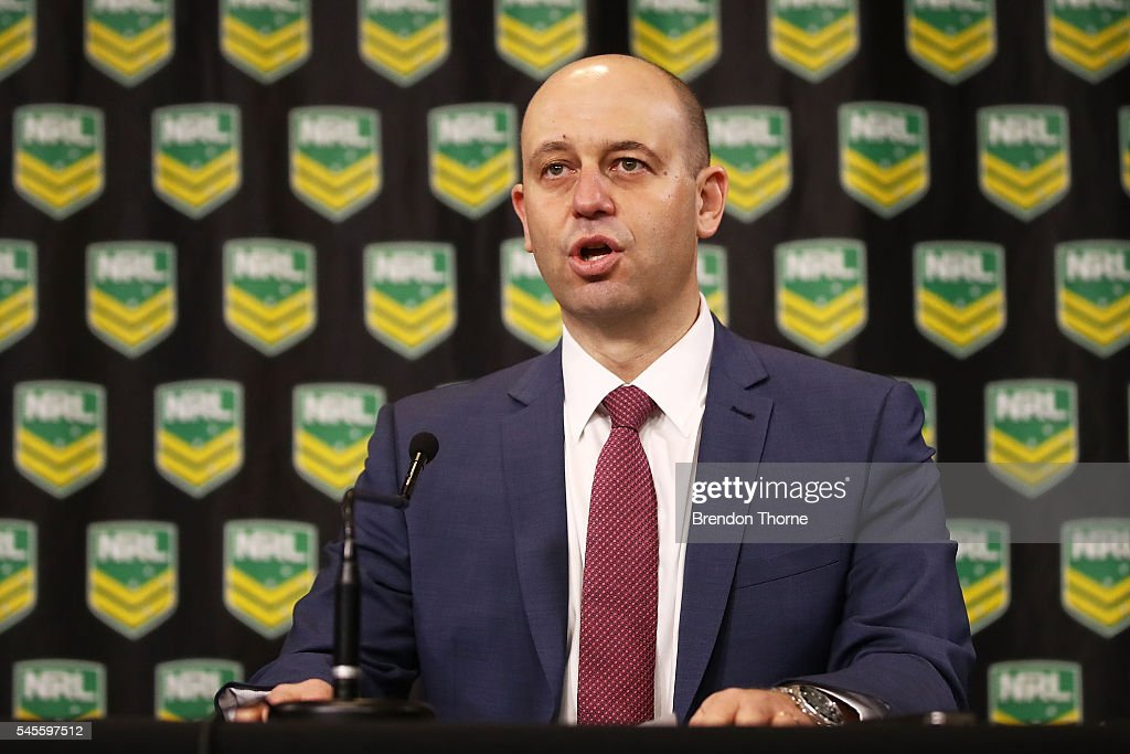 Todd Greenberg speaks to the media during an NRL press conference at the NRL Headquarters on July 9, 2016 in Sydney, Australia. The Parramatta Eels were handed a points deduction for the remainder of the 2016 season after they were found to be breaching the salary cap.