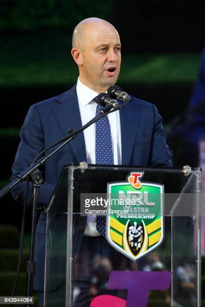 Todd Greenberg talks during the 2017 NRL Season Launch at Martin Place on February 23 2017 in Sydney Australia