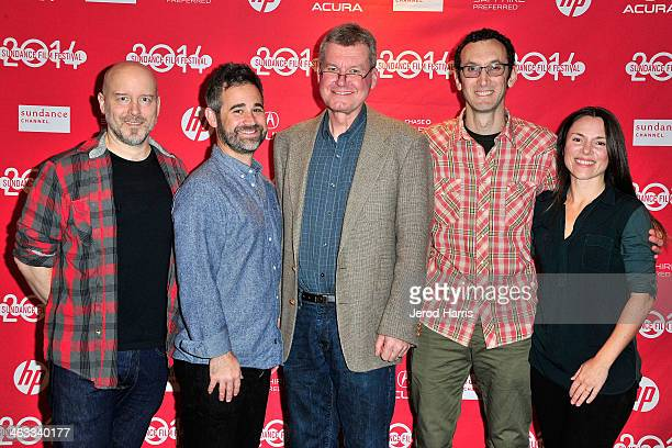 Todd Griffin Jeff Gilbert Pastor Jay Reinke director Jesse Moss and Amanda McBaine attend 'The Overnighters' Premiere 2014 Sundance Film Festival at...