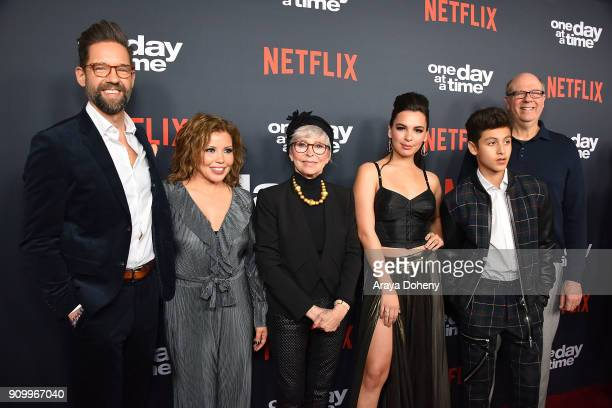 Todd Grinnell Justina Machado Rita Moreno Isabella Gomez Marcel Ruiz and Stephen Tobolowsky attend the premiere of Netflix's 'One Day At A Time'...