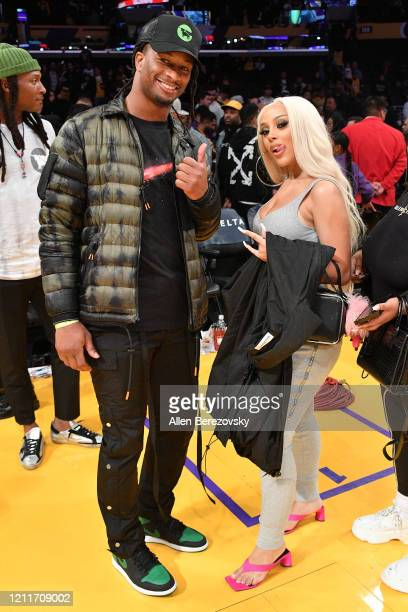 Todd Gurley and Doja Cat attend a basketball game between the Los Angeles Lakers and the Brooklyn Nets at Staples Center on March 10 2020 in Los...