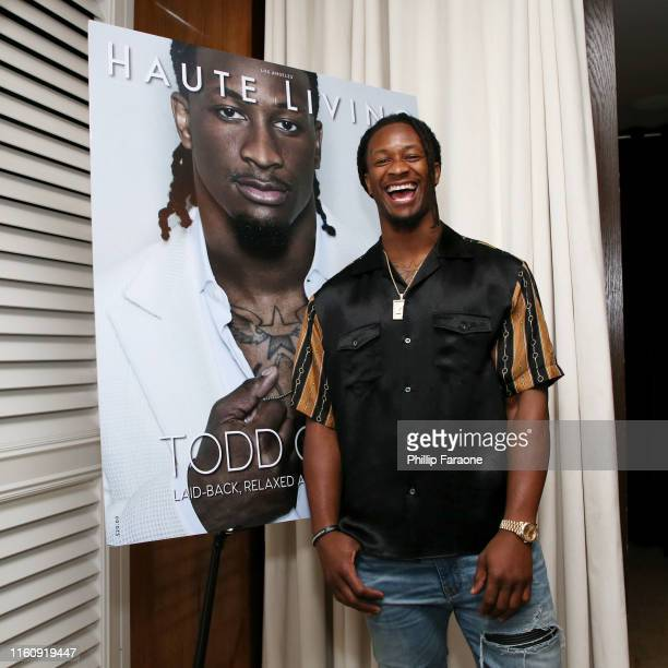 Todd Gurley attends Haute Living and Rolls Royce Celebrate Todd Gurley Cover Launch at Mr. C Beverly Hills on July 08, 2019 in Beverly Hills,...