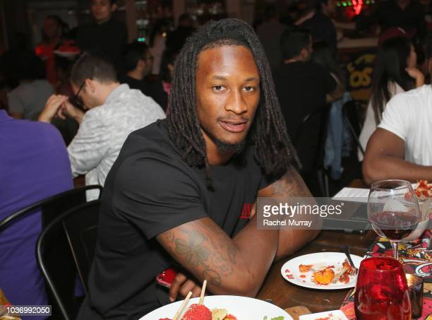 Todd Gurley attends The Flamin Hot Spot Cheetos new limitedtime restaurant with a menu inspired by chef Roy Choi at Madera Kitchen on September 20...