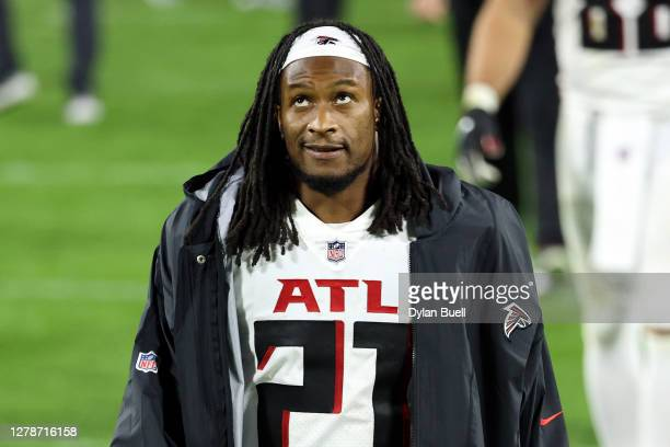 Todd Gurley II of the Atlanta Falcons walks off the field after being defeated by the Green Bay Packers 30-16 at Lambeau Field on October 05, 2020 in...