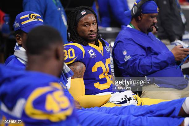 Todd Gurley II of the Los Angeles Rams gestures while he is on the bench in the second half during Super Bowl LIII at Mercedes-Benz Stadium on...