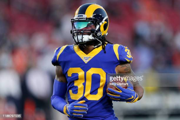 Todd Gurley II of the Los Angeles Rams warms up before a game against the Chicago Bears at Los Angeles Memorial Coliseum on November 17, 2019 in Los...