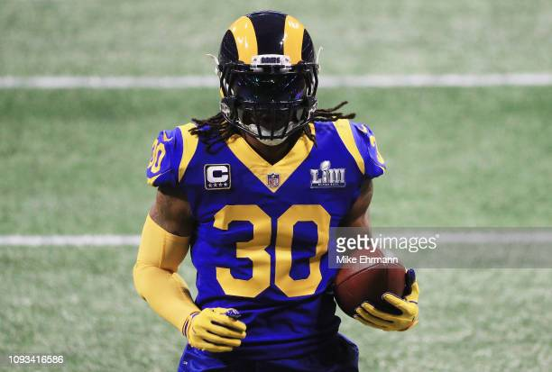 Todd Gurley II of the Los Angeles Rams warms up prior the Super Bowl LIII at Mercedes-Benz Stadium on February 3, 2019 in Atlanta, Georgia.